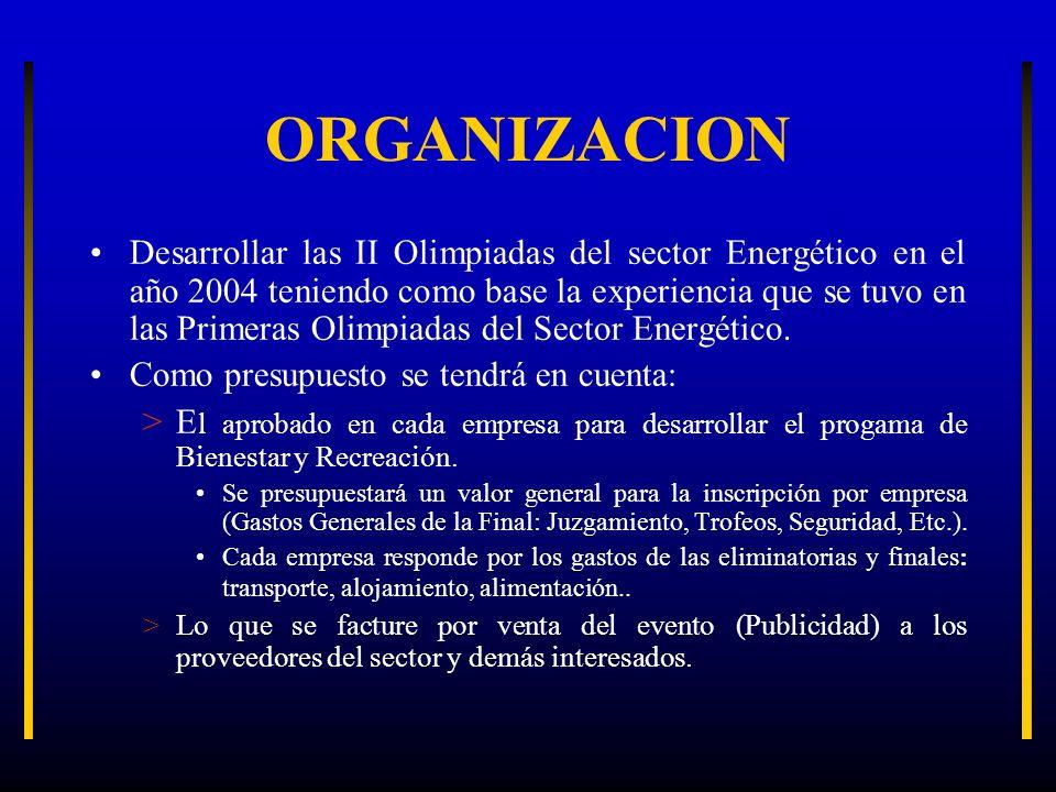 ORGANIZACION Desarrollar las II Olimpiadas del sector Energético en el año 2004 teniendo como base la experiencia que se tuvo en las Primeras Olimpiad