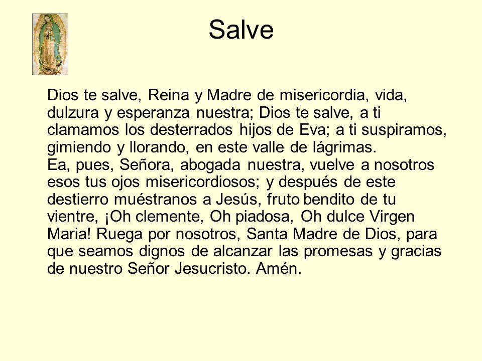Salve Dios te salve, Reina y Madre de misericordia, vida, dulzura y esperanza nuestra; Dios te salve, a ti clamamos los desterrados hijos de Eva; a ti