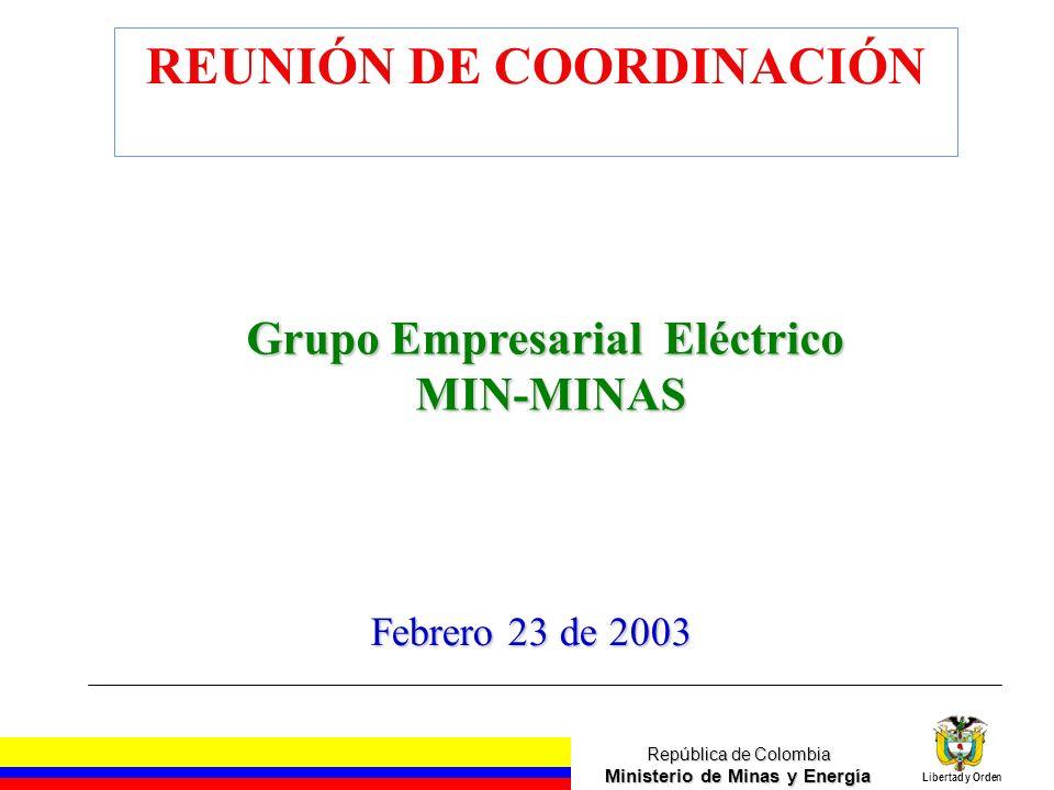 República de Colombia Ministerio de Minas y Energía Libertad y Orden Grupo Empresarial Eléctrico MIN-MINAS MIN-MINAS Febrero 23 de 2003 REUNIÓN DE COO
