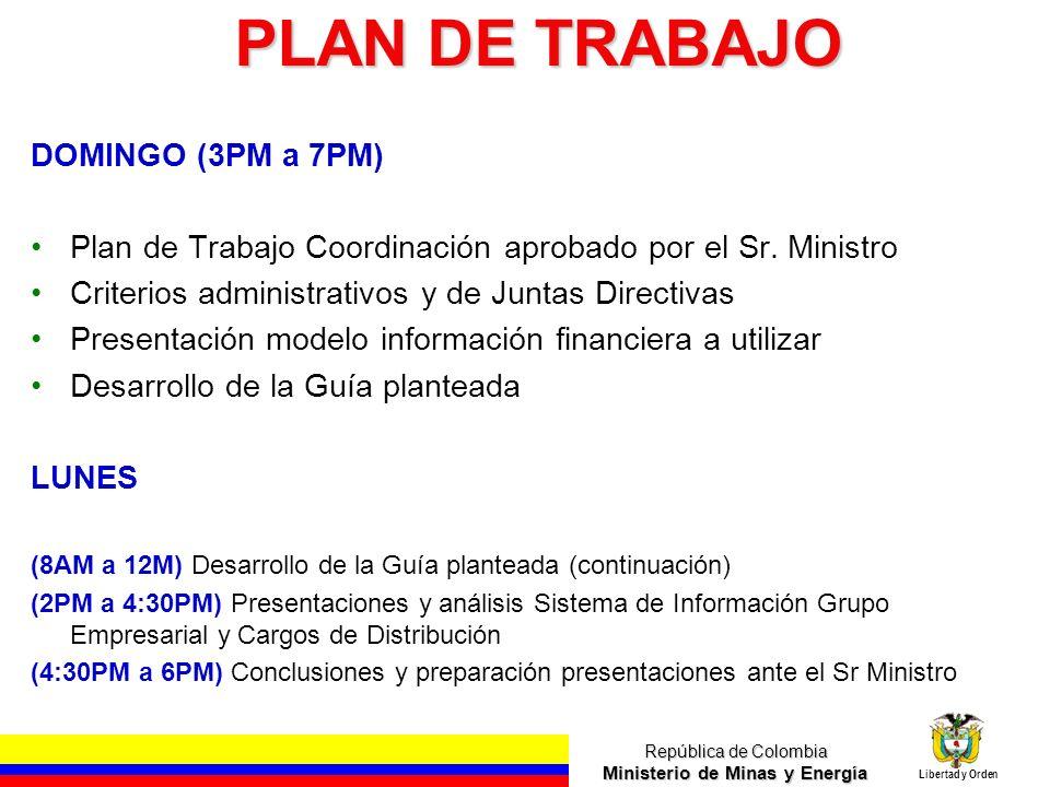 República de Colombia Ministerio de Minas y Energía Libertad y Orden PLAN DE TRABAJO DOMINGO (3PM a 7PM) Plan de Trabajo Coordinación aprobado por el