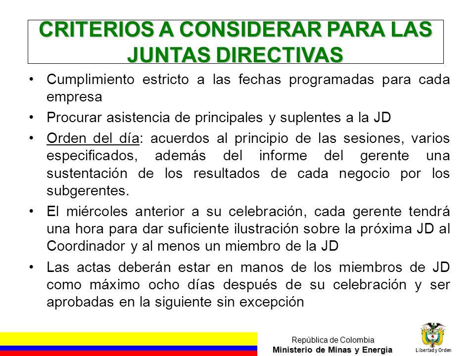 República de Colombia Ministerio de Minas y Energía Libertad y Orden CRITERIOS A CONSIDERAR PARA LAS JUNTAS DIRECTIVAS Cumplimiento estricto a las fec
