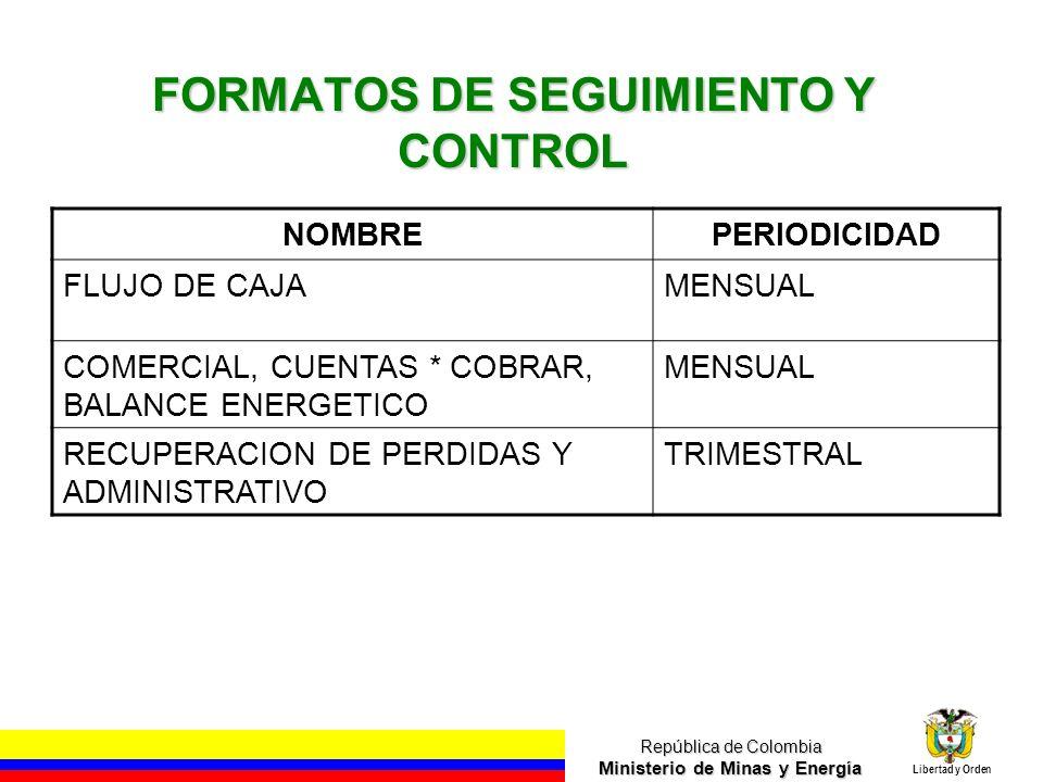 República de Colombia Ministerio de Minas y Energía Libertad y Orden FORMATOS DE SEGUIMIENTO Y CONTROL NOMBREPERIODICIDAD FLUJO DE CAJAMENSUAL COMERCI