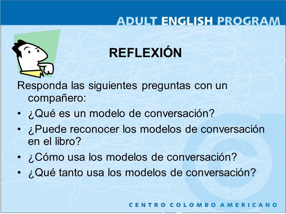 Responda las siguientes preguntas con un compañero: ¿Qué es un modelo de conversación? ¿Puede reconocer los modelos de conversación en el libro? ¿Cómo