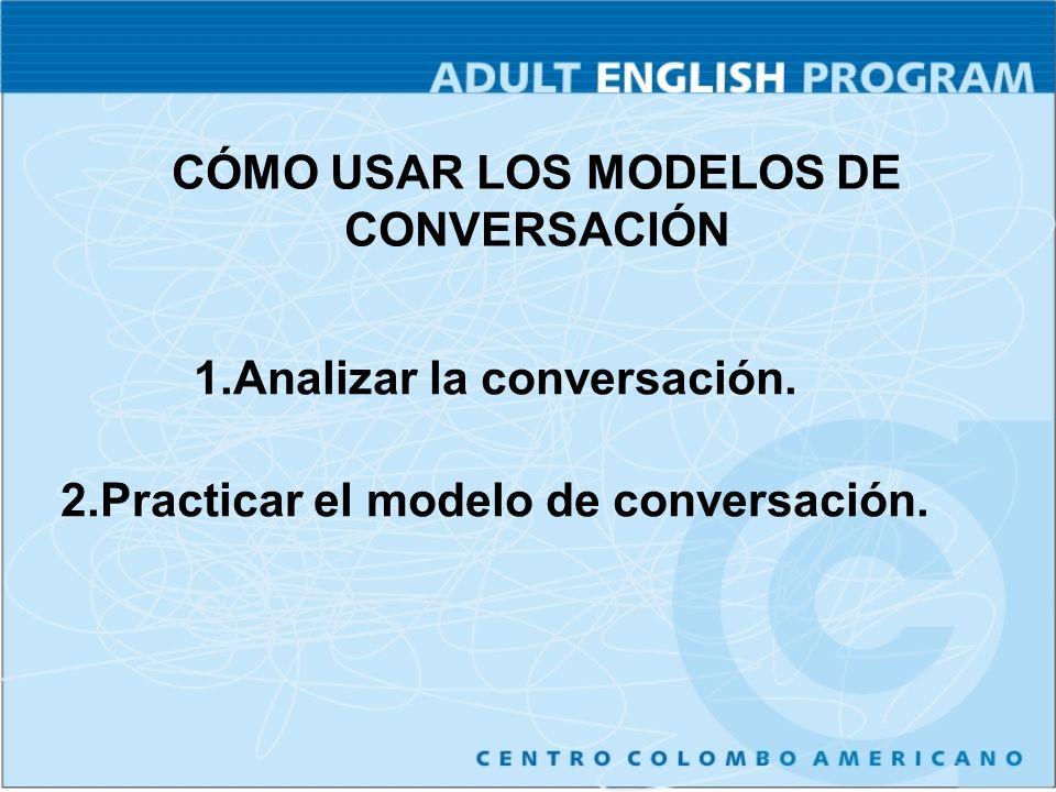 CÓMO USAR LOS MODELOS DE CONVERSACIÓN 1.Analizar la conversación. 2.Practicar el modelo de conversación.