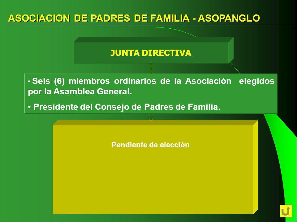 ASOCIACION DE PADRES DE FAMILIA - ASOPANGLO CONSEJO DE PADRES CONSEJO DE PADRES Apoyo y control DIRECCION EJECUTIVA DIRECCION EJECUTIVA Dirección y Co