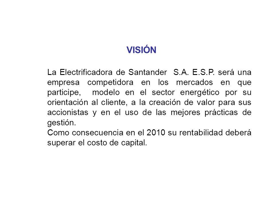 VISIÓN La Electrificadora de Santander S.A. E.S.P. será una empresa competidora en los mercados en que participe, modelo en el sector energético por s