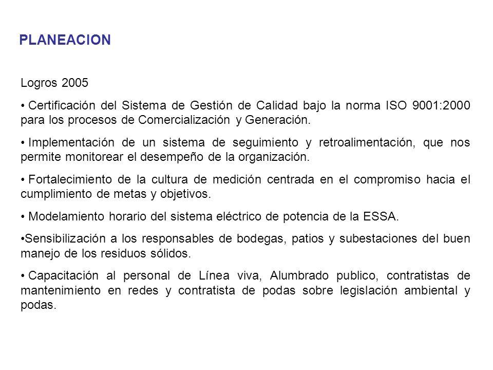PLANEACION Logros 2005 Certificación del Sistema de Gestión de Calidad bajo la norma ISO 9001:2000 para los procesos de Comercialización y Generación.