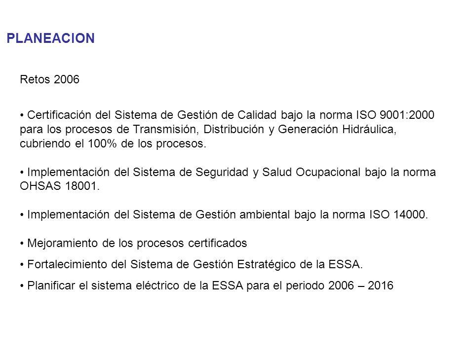 PLANEACION Retos 2006 Certificación del Sistema de Gestión de Calidad bajo la norma ISO 9001:2000 para los procesos de Transmisión, Distribución y Gen