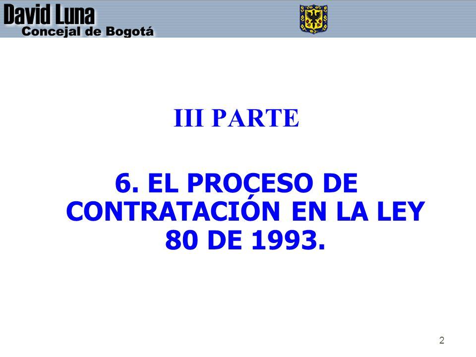 2 III PARTE 6. EL PROCESO DE CONTRATACIÓN EN LA LEY 80 DE 1993.