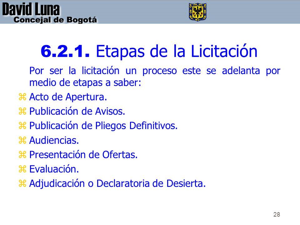 28 6.2.1. Etapas de la Licitación Por ser la licitación un proceso este se adelanta por medio de etapas a saber: zActo de Apertura. zPublicación de Av
