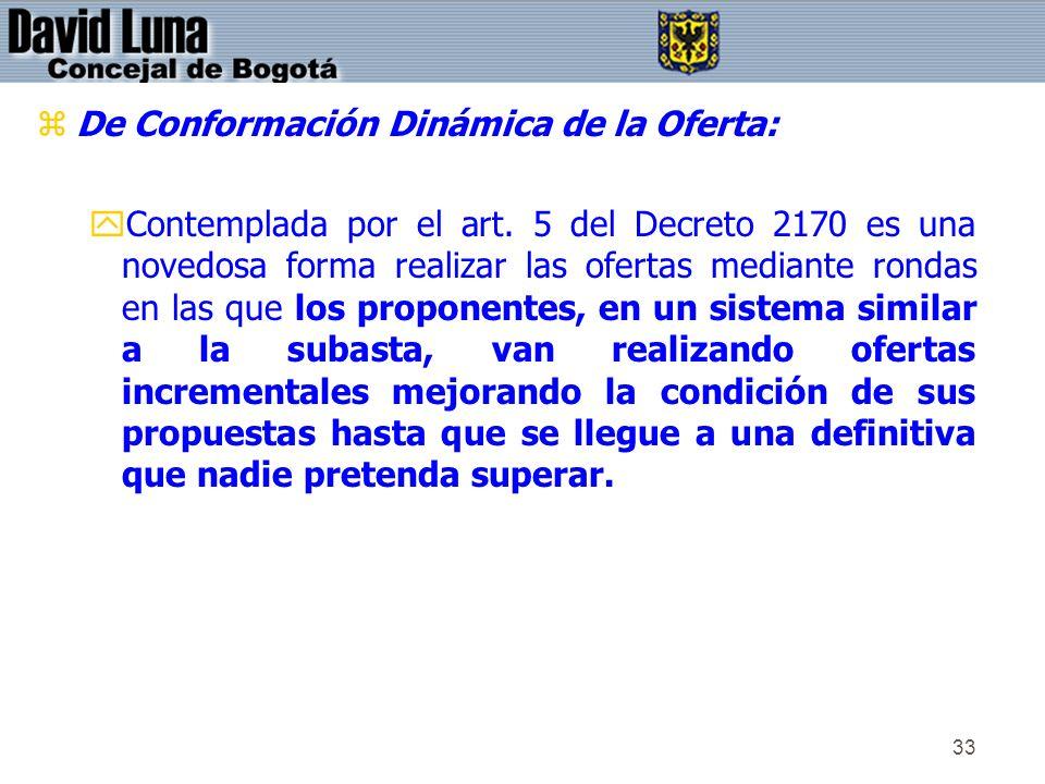 33 zDe Conformación Dinámica de la Oferta: yContemplada por el art. 5 del Decreto 2170 es una novedosa forma realizar las ofertas mediante rondas en l