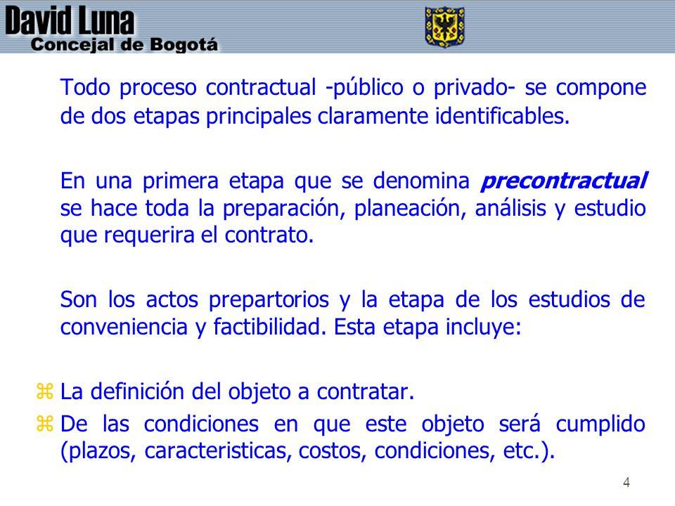 4 Todo proceso contractual -público o privado- se compone de dos etapas principales claramente identificables. En una primera etapa que se denomina pr