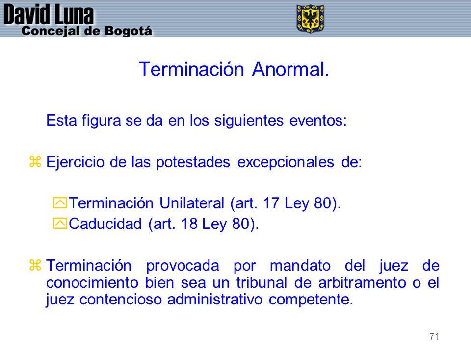 71 Terminación Anormal. Esta figura se da en los siguientes eventos: zEjercicio de las potestades excepcionales de: yTerminación Unilateral (art. 17 L