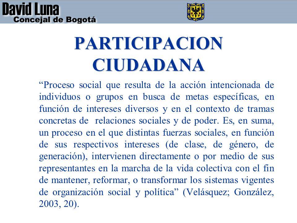 Proceso social que resulta de la acción intencionada de individuos o grupos en busca de metas específicas, en función de intereses diversos y en el contexto de tramas concretas de relaciones sociales y de poder.