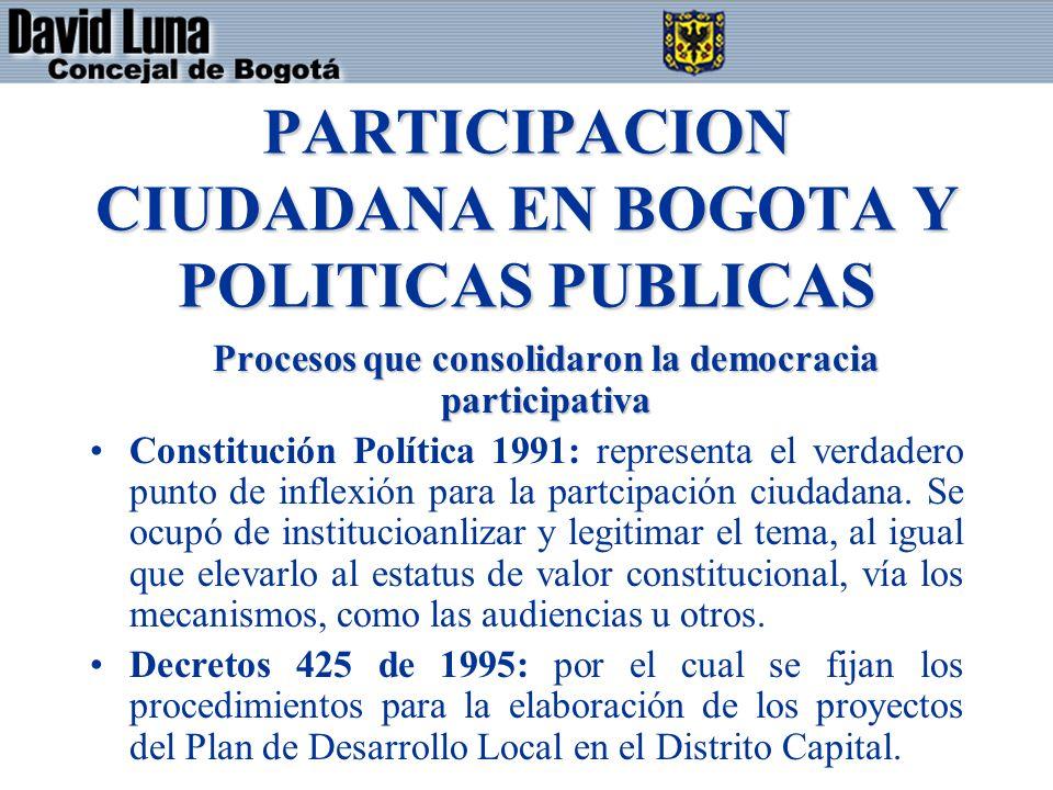 PARTICIPACION CIUDADANA EN BOGOTA Y POLITICAS PUBLICAS Procesos que consolidaron la democracia participativa Constitución Política 1991: representa el verdadero punto de inflexión para la partcipación ciudadana.