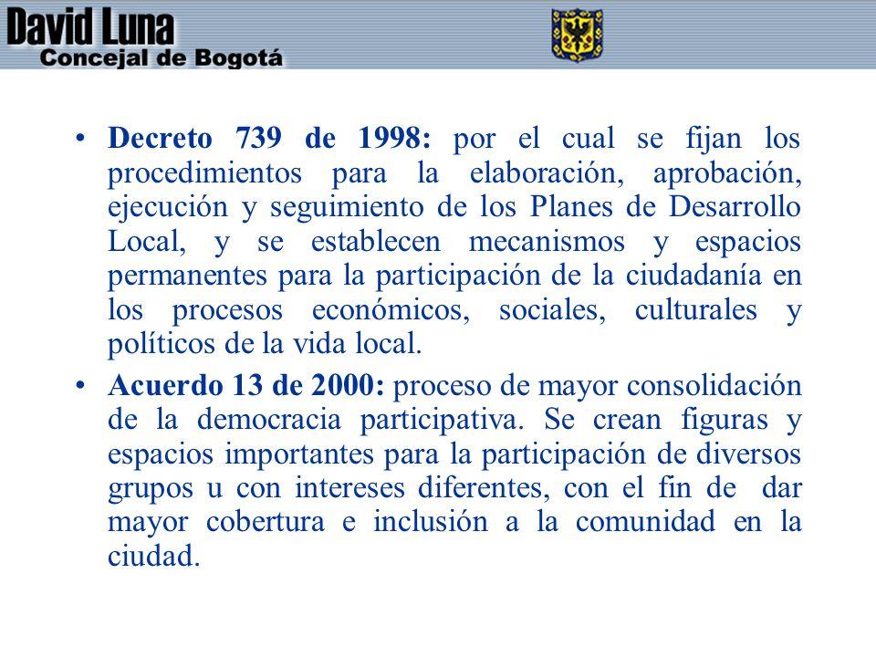 Decreto 739 de 1998: por el cual se fijan los procedimientos para la elaboración, aprobación, ejecución y seguimiento de los Planes de Desarrollo Local, y se establecen mecanismos y espacios permanentes para la participación de la ciudadanía en los procesos económicos, sociales, culturales y políticos de la vida local.