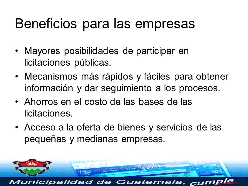 Beneficios para el sector público Procedimientos de trabajo estandarizados. Agilidad y transparencia en los procesos de licitación pública. Mecanismos