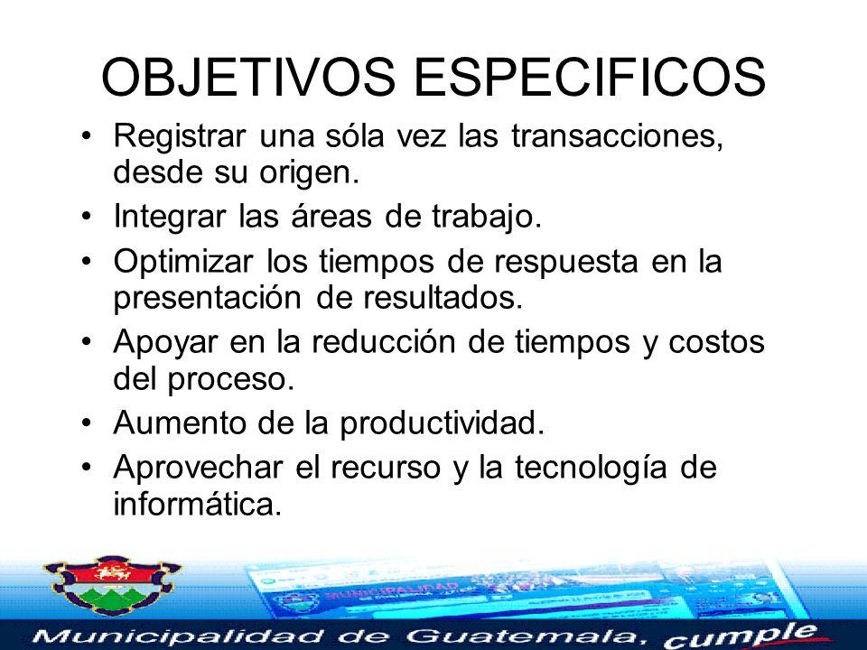 OBJETIVO GENERAL Apoyar la optimización de los procesos financiero-contables, a través de la creación de un sistema de información integrado (SIAF) y