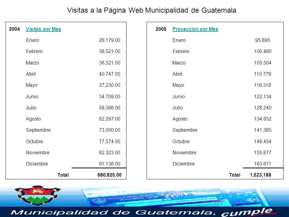 Visitas a la Página Web de la Municipalidad de Guatemala en 2004