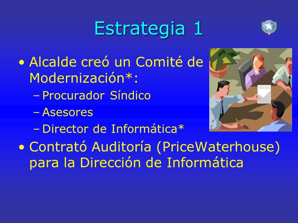 Estrategia 1 Alcalde creó un Comité de Modernización*: –Procurador Síndico –Asesores –Director de Informática* Contrató Auditoría (PriceWaterhouse) pa