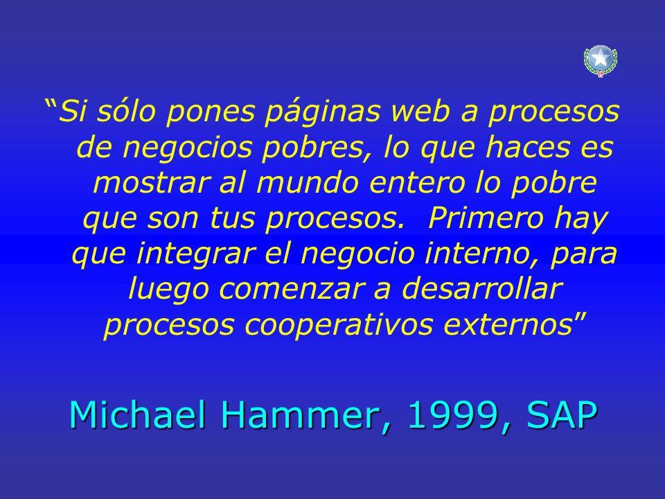 Michael Hammer, 1999, SAP Si sólo pones páginas web a procesos de negocios pobres, lo que haces es mostrar al mundo entero lo pobre que son tus proces