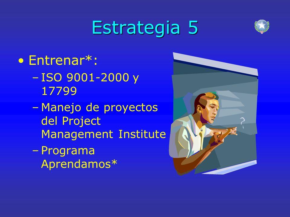 Estrategia 5 Entrenar*: –ISO 9001-2000 y 17799 –Manejo de proyectos del Project Management Institute –Programa Aprendamos*