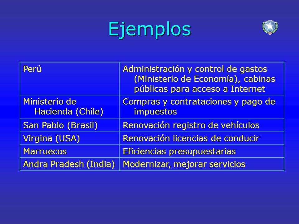 Ejemplos PerúAdministración y control de gastos (Ministerio de Economía), cabinas públicas para acceso a Internet Ministerio de Hacienda (Chile) Compr