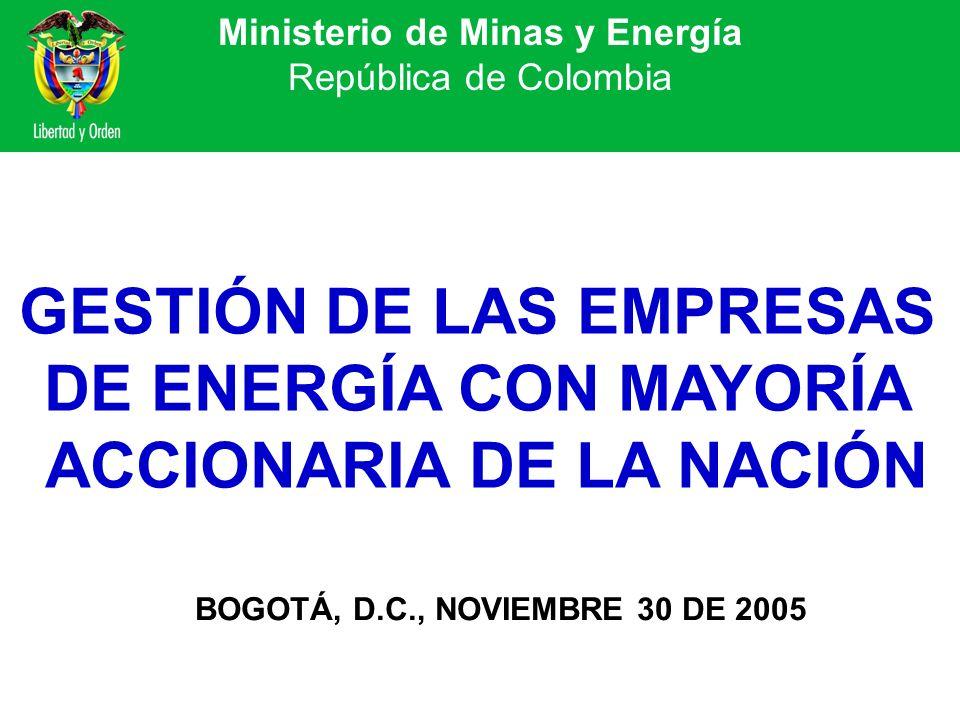 Ministerio de Minas y Energía República de Colombia GESTIÓN DE LAS EMPRESAS DE ENERGÍA CON MAYORÍA ACCIONARIA DE LA NACIÓN BOGOTÁ, D.C., NOVIEMBRE 30