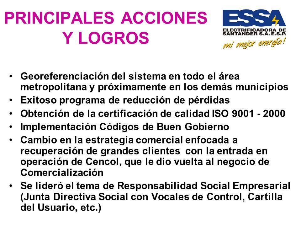 PRINCIPALES ACCIONES Y LOGROS Georeferenciación del sistema en todo el área metropolitana y próximamente en los demás municipios Exitoso programa de r