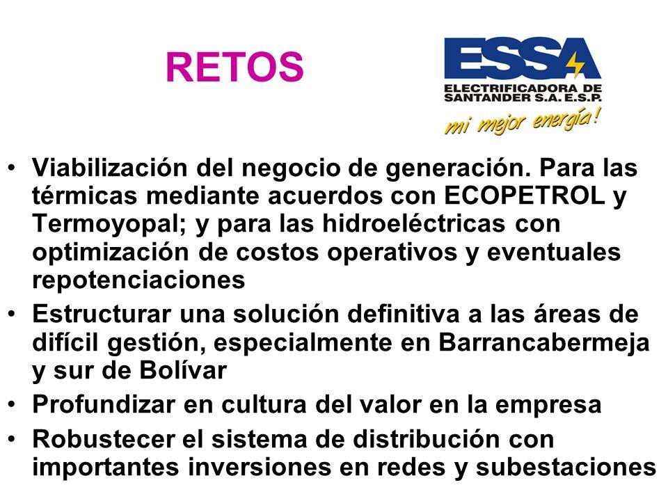 RETOS Viabilización del negocio de generación. Para las térmicas mediante acuerdos con ECOPETROL y Termoyopal; y para las hidroeléctricas con optimiza