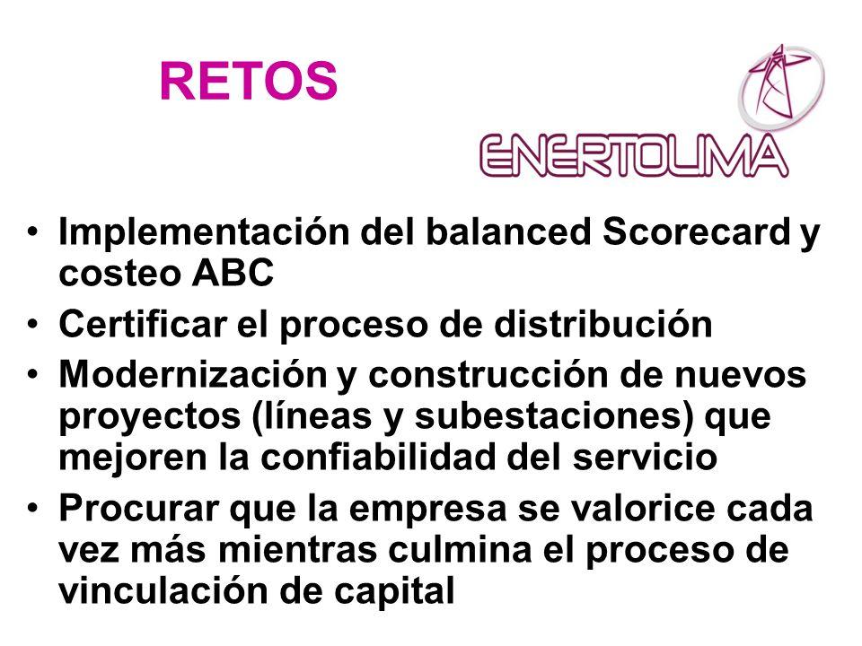 RETOS Implementación del balanced Scorecard y costeo ABC Certificar el proceso de distribución Modernización y construcción de nuevos proyectos (línea