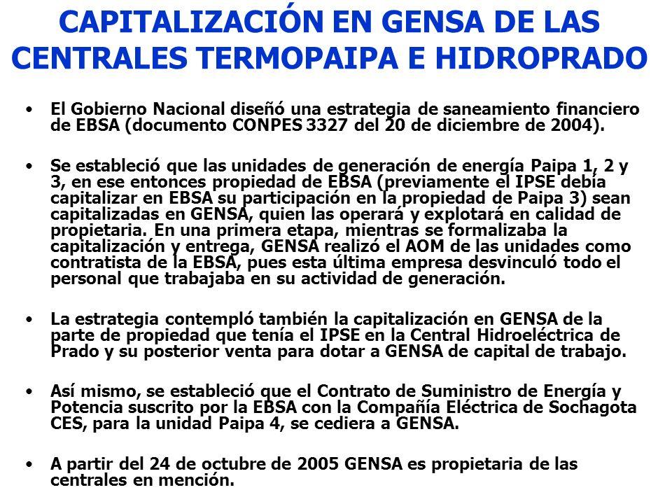 CAPITALIZACIÓN EN GENSA DE LAS CENTRALES TERMOPAIPA E HIDROPRADO El Gobierno Nacional diseñó una estrategia de saneamiento financiero de EBSA (documen