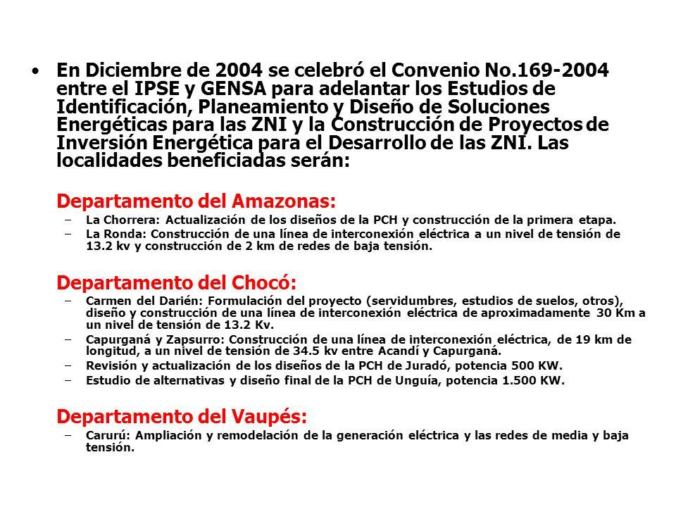 En Diciembre de 2004 se celebró el Convenio No.169-2004 entre el IPSE y GENSA para adelantar los Estudios de Identificación, Planeamiento y Diseño de