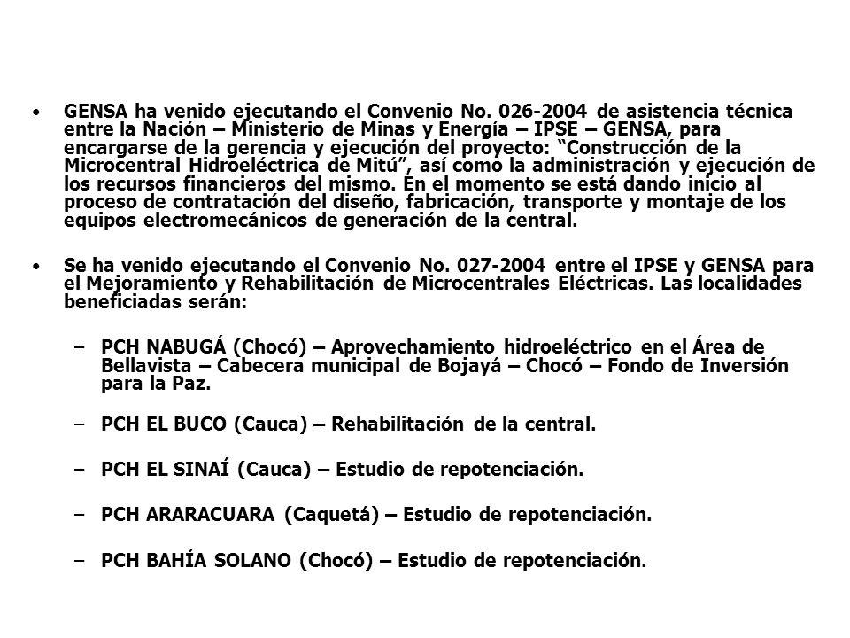 GENSA ha venido ejecutando el Convenio No. 026-2004 de asistencia técnica entre la Nación – Ministerio de Minas y Energía – IPSE – GENSA, para encarga