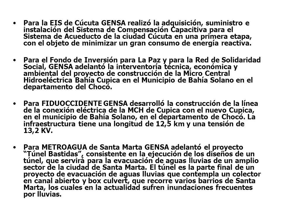 Para la EIS de Cúcuta GENSA realizó la adquisición, suministro e instalación del Sistema de Compensación Capacitiva para el Sistema de Acueducto de la