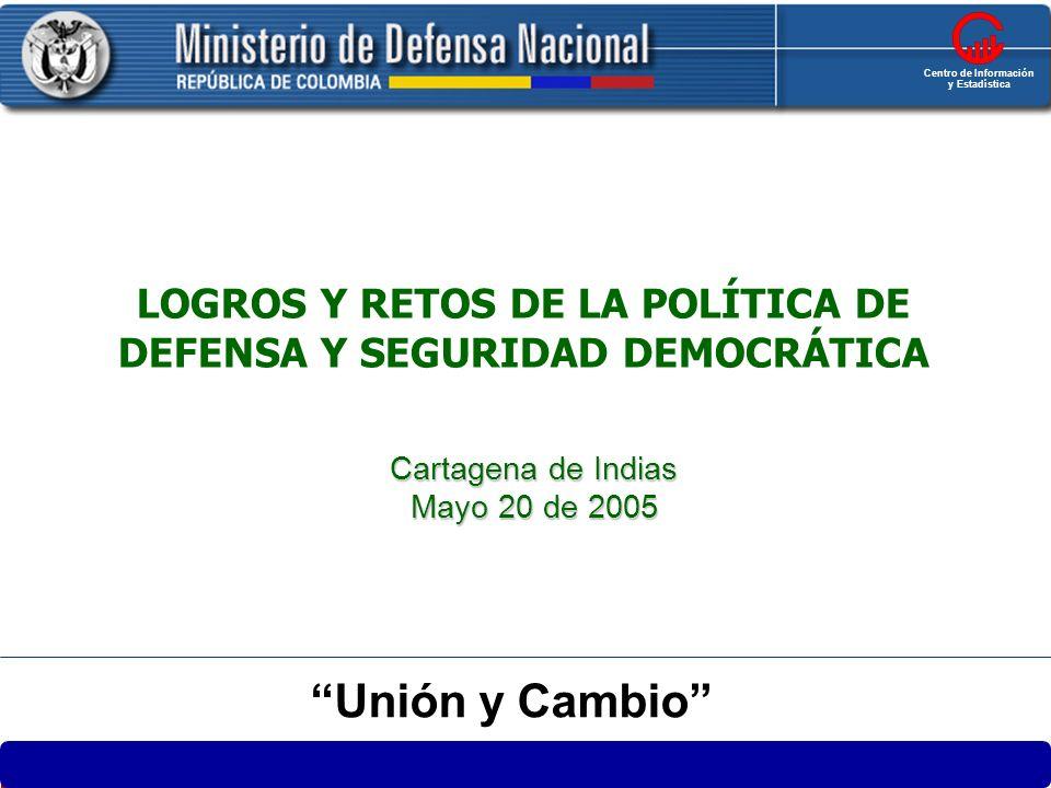 1 LOGROS Y RETOS DE LA POLÍTICA DE DEFENSA Y SEGURIDAD DEMOCRÁTICA Cartagena de Indias Mayo 20 de 2005 República de Colombia MINISTERIO DE DEFENSA NAC