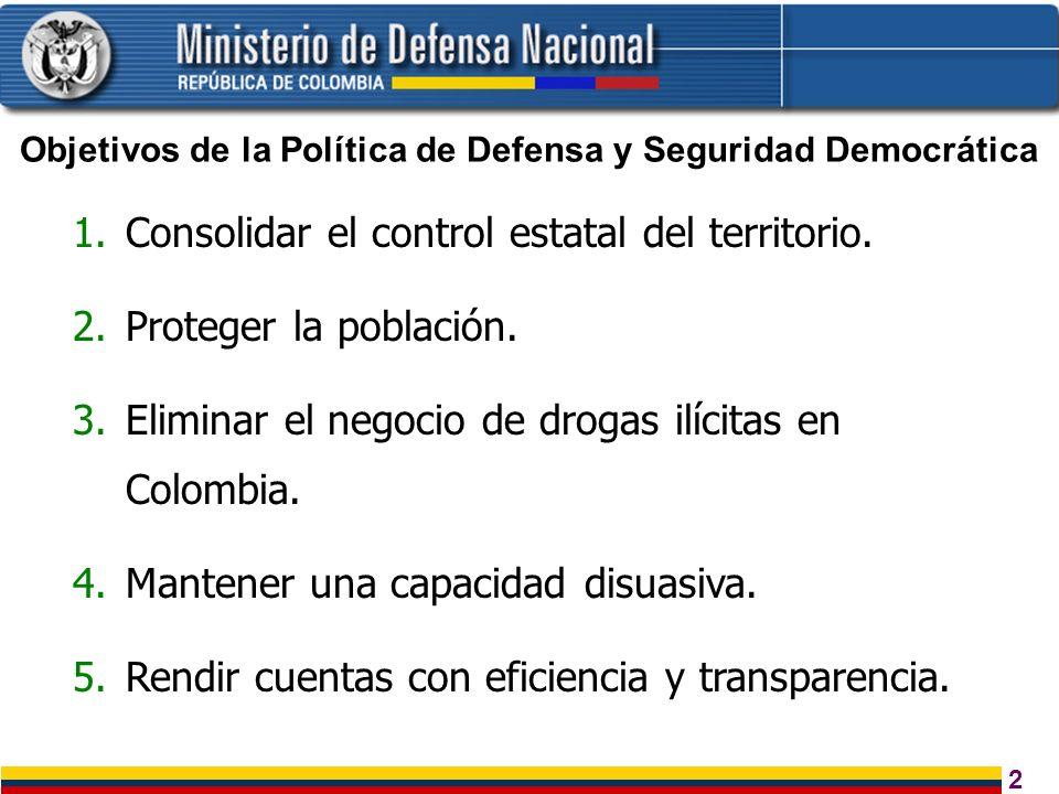 2 1.Consolidar el control estatal del territorio. 2.Proteger la población. 3.Eliminar el negocio de drogas ilícitas en Colombia. 4.Mantener una capaci