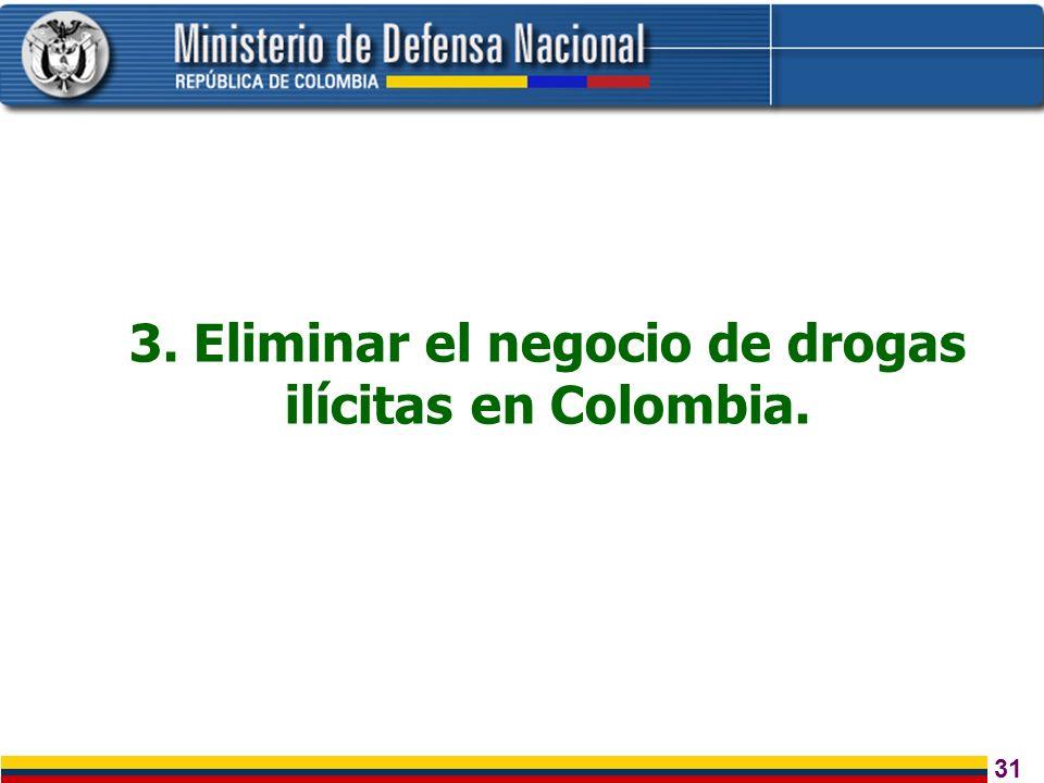 31 3. Eliminar el negocio de drogas ilícitas en Colombia.
