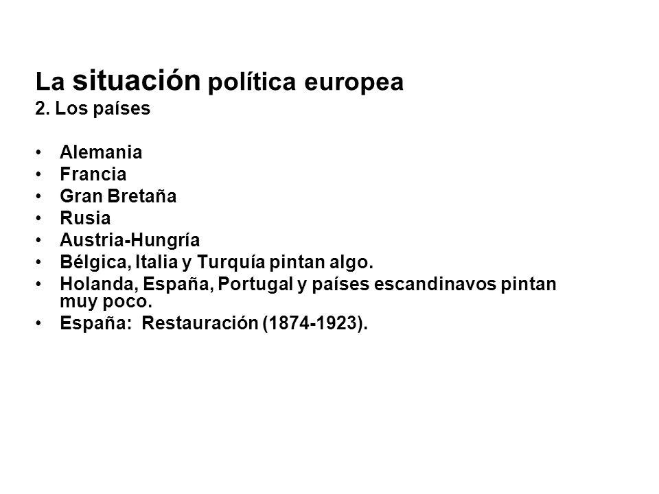 La situación política europea 2. Los países Alemania Francia Gran Bretaña Rusia Austria-Hungría Bélgica, Italia y Turquía pintan algo. Holanda, España