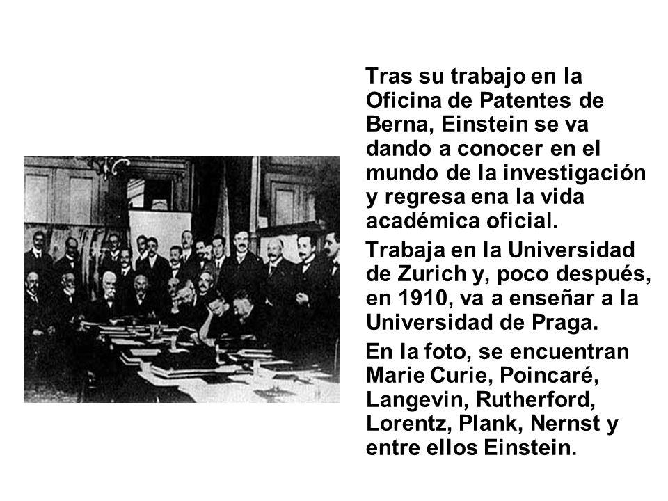 Tras su trabajo en la Oficina de Patentes de Berna, Einstein se va dando a conocer en el mundo de la investigación y regresa ena la vida académica ofi