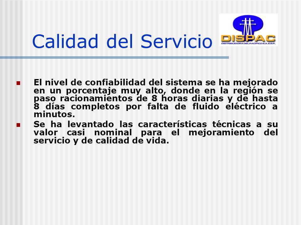 Calidad del Servicio El nivel de confiabilidad del sistema se ha mejorado en un porcentaje muy alto, donde en la región se paso racionamientos de 8 horas diarias y de hasta 8 días completos por falta de fluido eléctrico a minutos.