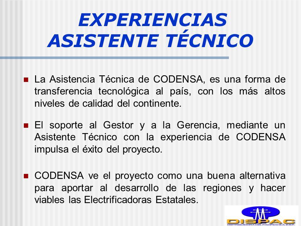 EXPERIENCIAS ASISTENTE TÉCNICO La Asistencia Técnica de CODENSA, es una forma de transferencia tecnológica al país, con los más altos niveles de calidad del continente.