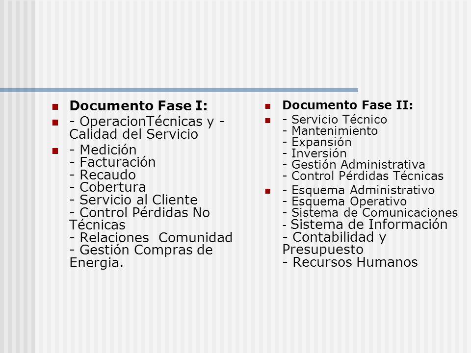 Documento Fase I: - OperacionTécnicas y - Calidad del Servicio - Medición - Facturación - Recaudo - Cobertura - Servicio al Cliente - Control Pérdidas No Técnicas - Relaciones Comunidad - Gestión Compras de Energia.