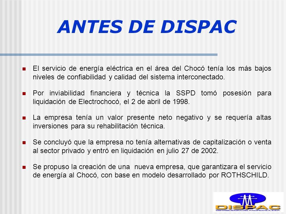 ANTES DE DISPAC El servicio de energía eléctrica en el área del Chocó tenía los más bajos niveles de confiabilidad y calidad del sistema interconectado.