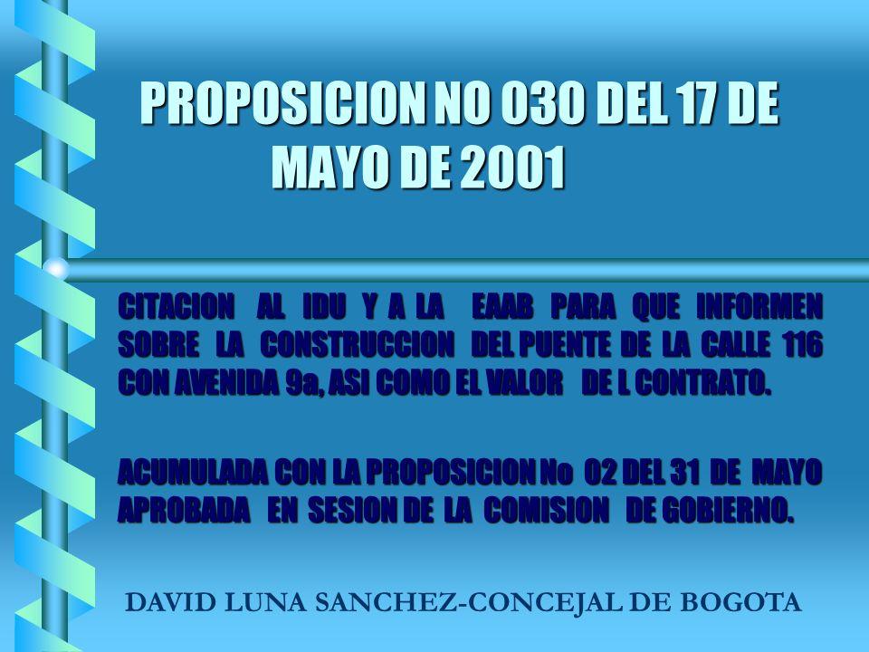 PROPOSICION NO 030 DEL 17 DE MAYO DE 2001 CITACION AL IDU Y A LA EAAB PARA QUE INFORMEN SOBRE LA CONSTRUCCION DEL PUENTE DE LA CALLE 116 CON AVENIDA 9a, ASI COMO EL VALOR DE L CONTRATO.