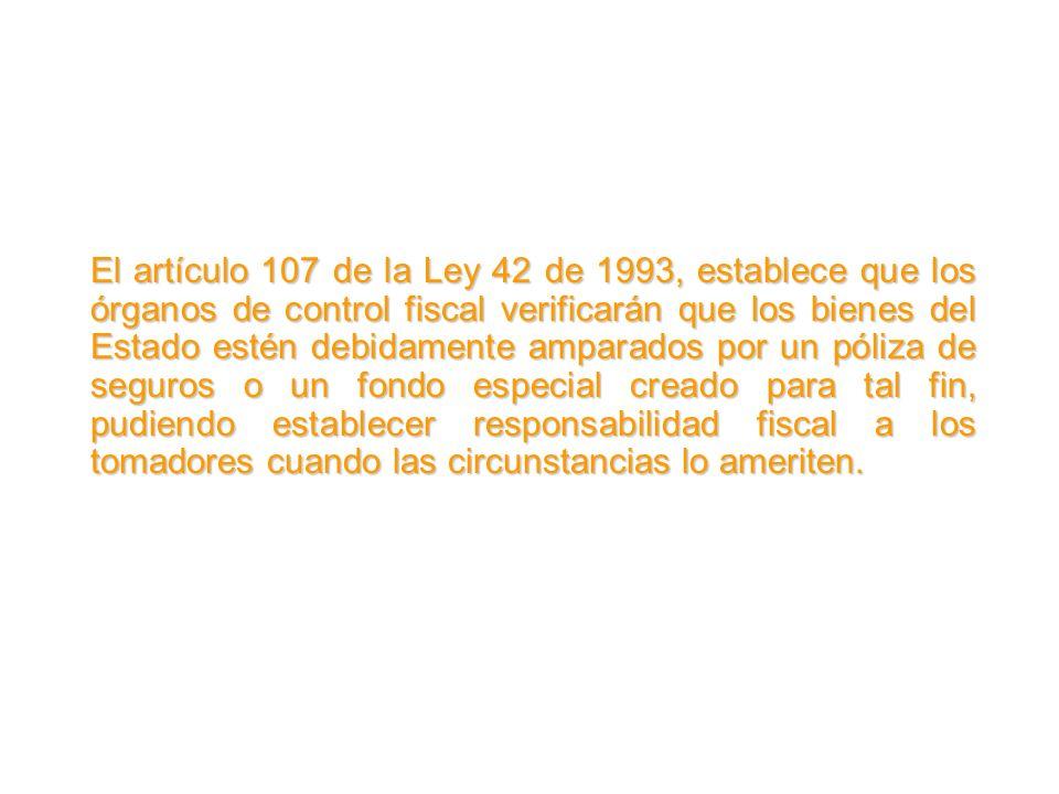 El artículo 107 de la Ley 42 de 1993, establece que los órganos de control fiscal verificarán que los bienes del Estado estén debidamente amparados po