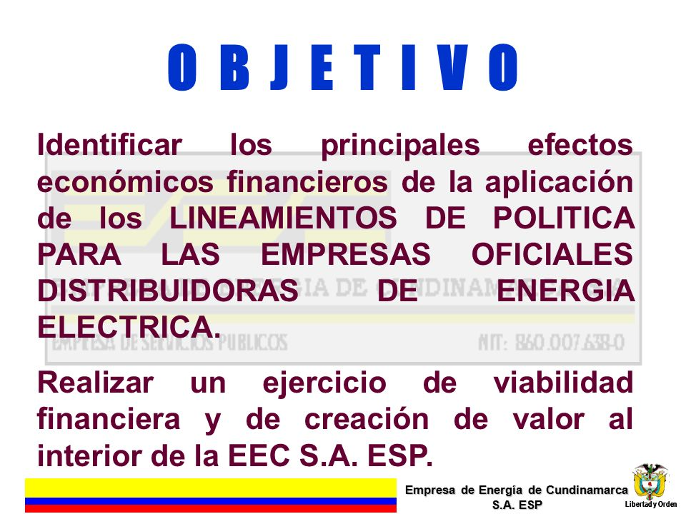 O B J E T I V O Identificar los principales efectos económicos financieros de la aplicación de los LINEAMIENTOS DE POLITICA PARA LAS EMPRESAS OFICIALE