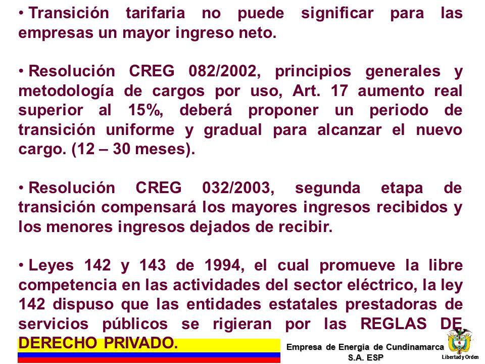 Empresa de Energía de Cundinamarca S.A. ESP Libertad y Orden 4 Empresa de Energía de Cundinamarca S.A. ESP Libertad y Orden Transición tarifaria no pu