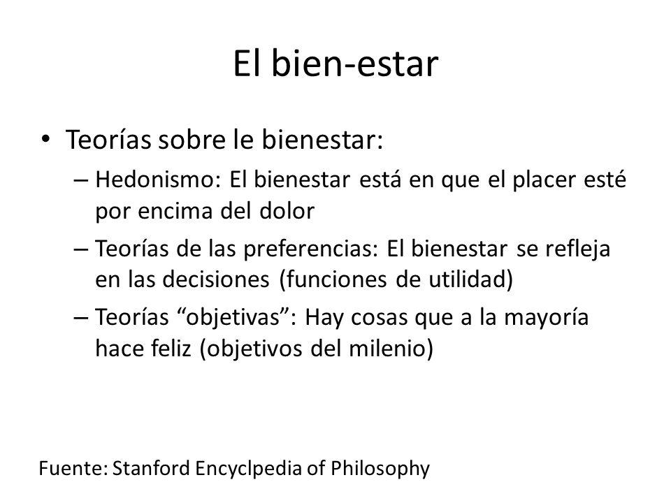 El bien-estar Teorías sobre le bienestar: – Hedonismo: El bienestar está en que el placer esté por encima del dolor – Teorías de las preferencias: El bienestar se refleja en las decisiones (funciones de utilidad) – Teorías objetivas: Hay cosas que a la mayoría hace feliz (objetivos del milenio) Fuente: Stanford Encyclpedia of Philosophy
