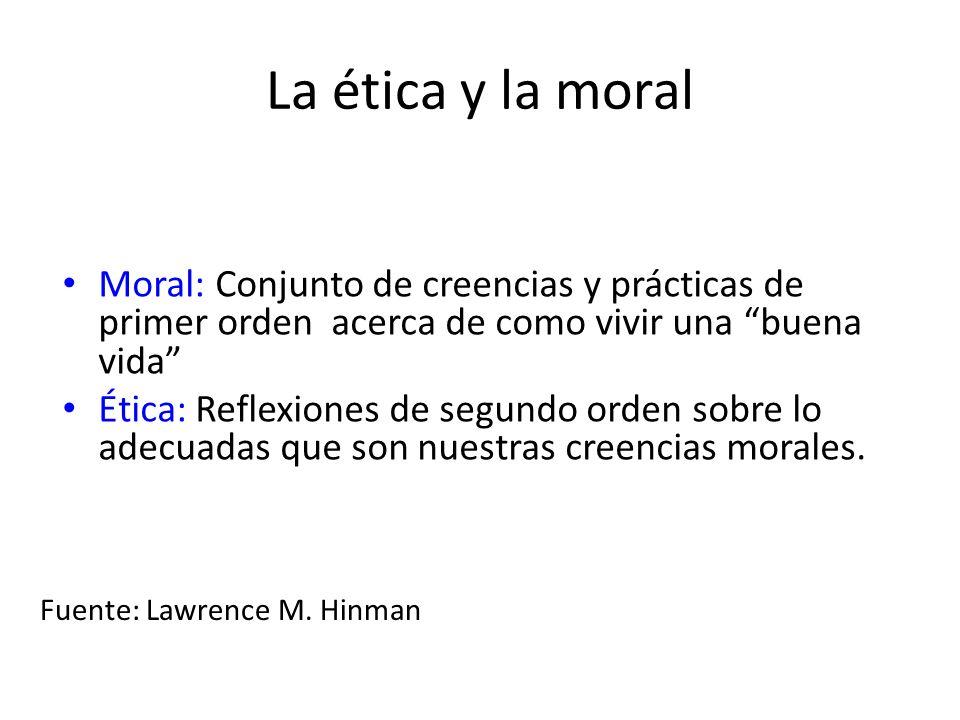 La ética y la moral Moral: Conjunto de creencias y prácticas de primer orden acerca de como vivir una buena vida Ética: Reflexiones de segundo orden sobre lo adecuadas que son nuestras creencias morales.